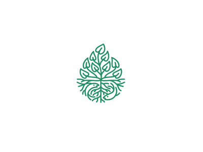 ManaWai Aquaponics Farm symbol logo farm nature roots fish plant leafs droplet