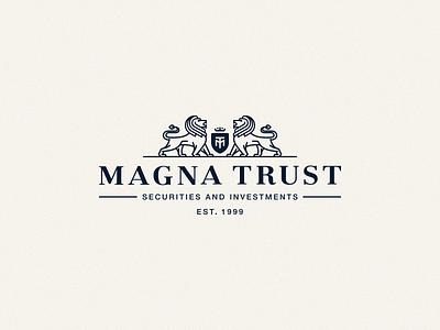 MagnaTrust Final security invest finance stance proud line cat crown monogram shield coat of arms lion