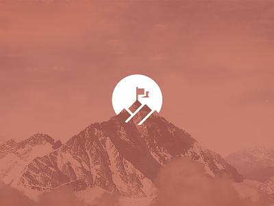 Upward peak summit reach top mountain flag upward