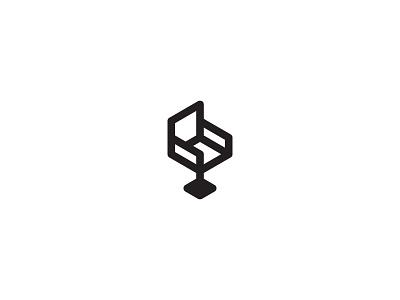 The Chair logo isometric line hexagon geometric symbol bar stool chair