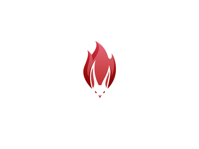 Bunny On Fire negative space logo sex toys animal hot flame fire rabbit bunny