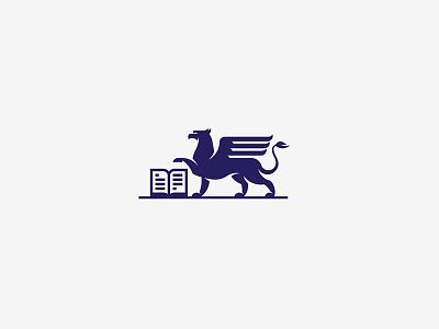 Griffin grid mark symbol logo publishing book lion griffin