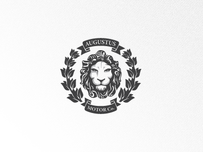 Augustus Motor Co. augustus motor crest laurel lion regal leaf banner logo coat of arms bay leaf
