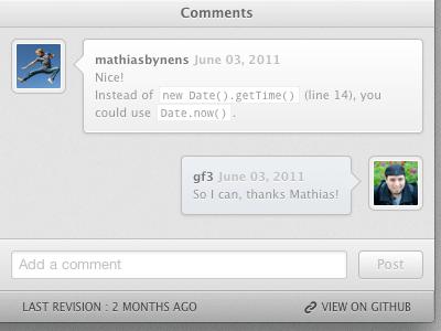 Comments UI css3 html5 webapp comments conversation chat ui