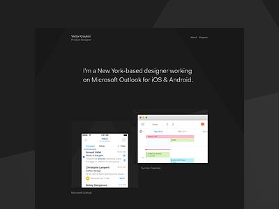 Personal Website portfolio website design web ui personal interface homepage black dark clean