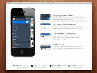 Sparrow for iPhone website css3 animation iphone app clean