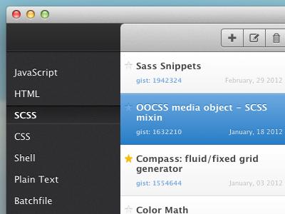 Gisties WIP toolbar app code css3 dark clean