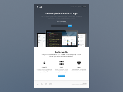 Hull Website css html startup homepage clean button blue svg