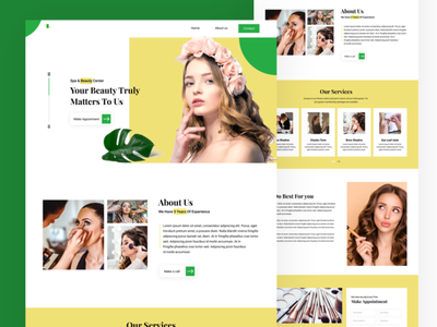 Landing page for beautician salon web hairstyle beauty purlar artist make up glamour landing page clean web ui landing page design web design