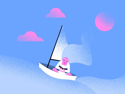 An interesting book illustration people blonde waves swimming ship a boat reading sea ocean book girl