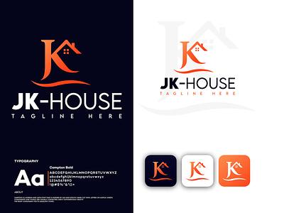 House logo vector minimal illustration branding logo brand j logo jk logo k logo home logo logodesign logo