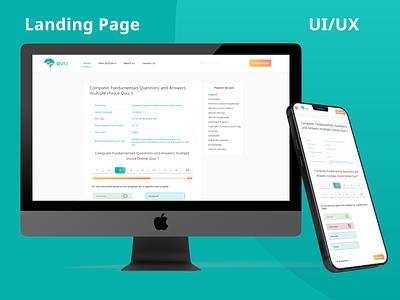Online Quiz Landing page and Dashboard graphic design branding uxui uiux ux ui dashboard ui dashboard design dashboard website design landing page