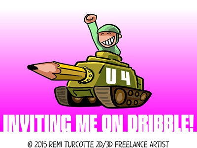 TANK U 4 Inviting me on Dribbble ! vector cartoon funny thanks