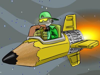 CaptainCrayon robot vector funny cartoon