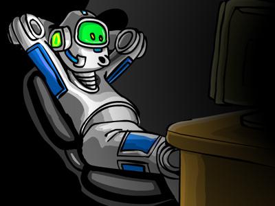 SurfBot robot vector funny cartoon