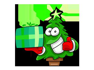 Nwell the Christmas tree 1 sticker tree christmas vector funny cartoon