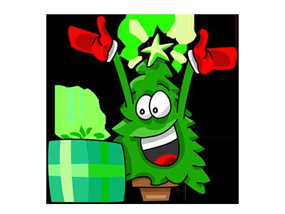 Nwell the Christmas tree 2 sticker tree christmas vector funny cartoon