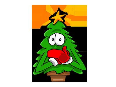 Nwell the Christmas tree 3 sticker tree christmas vector funny cartoon