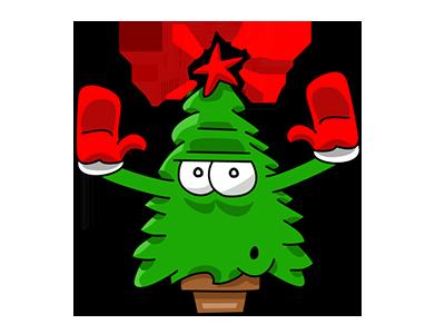Nwell the Christmas tree 5 sticker tree christmas vector funny cartoon