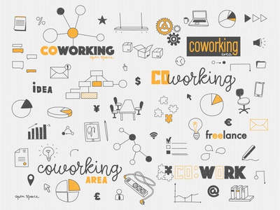 Business doodles for cowork space doodling doodle area working work co web open space yellow concept doodles business coworking cowork logo branding design illustration flat app
