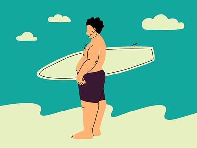 Surfing for everyone app typography concept branding summertime trendy big man summer surf web flat beach board surfer design plus size fat vector illustration surfing