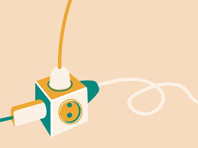 Extension socket yellow flat vector concept design app web electric current art illustraion socket