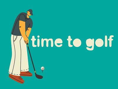 Time to golf banner player golfer illustrador branding sport green golf club golf vector concept app illustration design web flat
