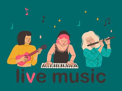 live music girl character ukulele flute piano guitar online festival musicians music vector concept app illustration design web flat