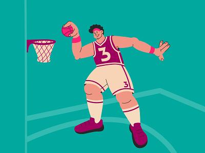 slam dunk multicolor illustration app web design shot dribbling ball player slam dunk