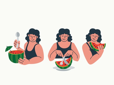 How do you eat it? eat concept fun hand drawing flat adobe illustrator digital fruits character summer watermelon vector illustration design