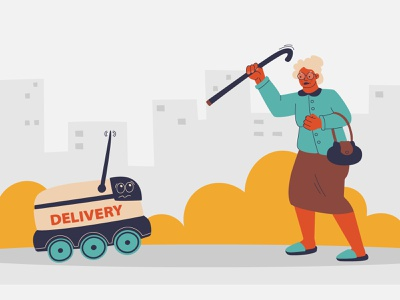 Are you ready for the future? flat vector city situation dribbble new concept jesting fun humor woman elderly robot delivery unmanned illustration design