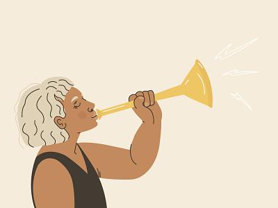 Speak to be heard illustrator character dribbble adobe illustrador flat vector feminism hair libber feminist instruments wind woman female girl concept web illustration design