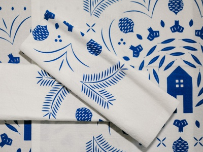 Garlic Mandala III garlic mandala napkin tea towel textile design textile fabric pattern fabric design pattern fabric home mimosa tree pine cone