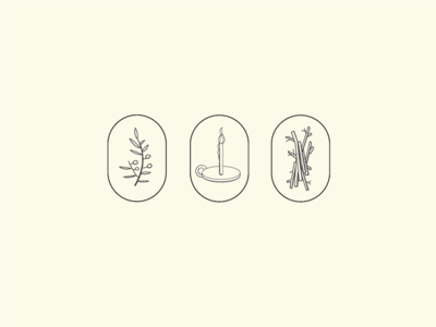 Wildfire sticks candle olive branch illustration wildfire