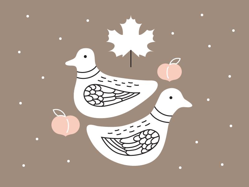Natasha illustration friendship peach maple leaf wedding ducks ducks georgia canada korea