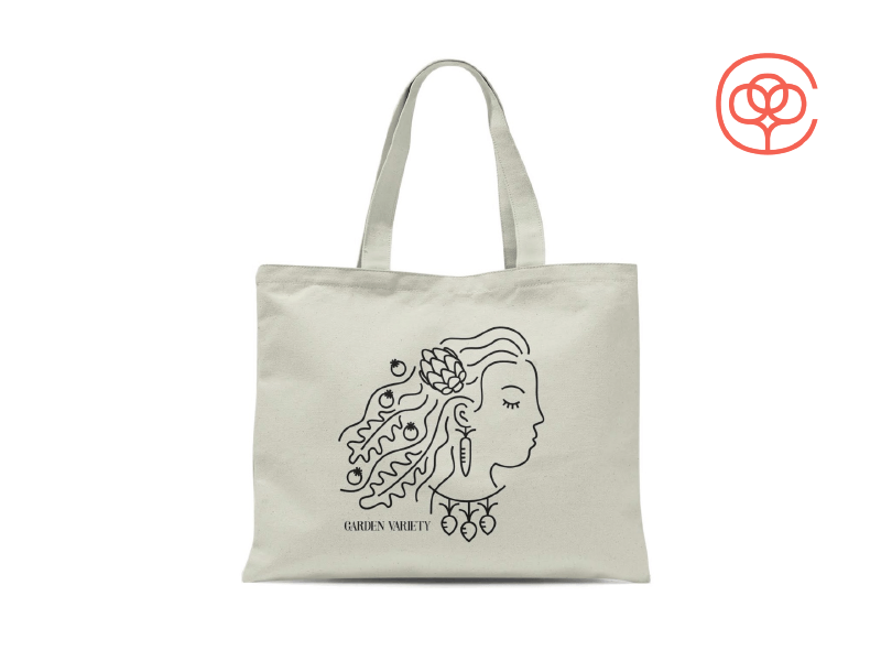 Vegetable Lady Tote Bag tote tote bag radish carrot artichoke arugula tomato vegetables woman lady girl illustration