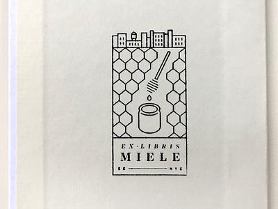 Ex Libris Miele brooklyn honeycomb nyc honey stamp ex libris bookplate