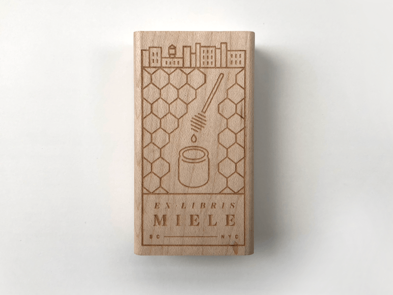 Ex Libris Miele II brooklyn honeycomb nyc honey stamp ex libris bookplate