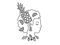 Fruit Lady line illustration illustration cherry strawberry lime orange lemon pineapple fruit woman lady girl