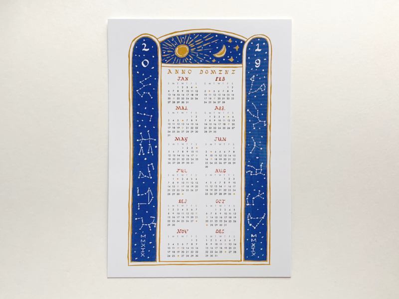 Anno Domini Postcard moon phases gouache illustration gouache illustration typography 2019 calendar 2019 psalterium psalter calendar anno domini rustic capitals lettering