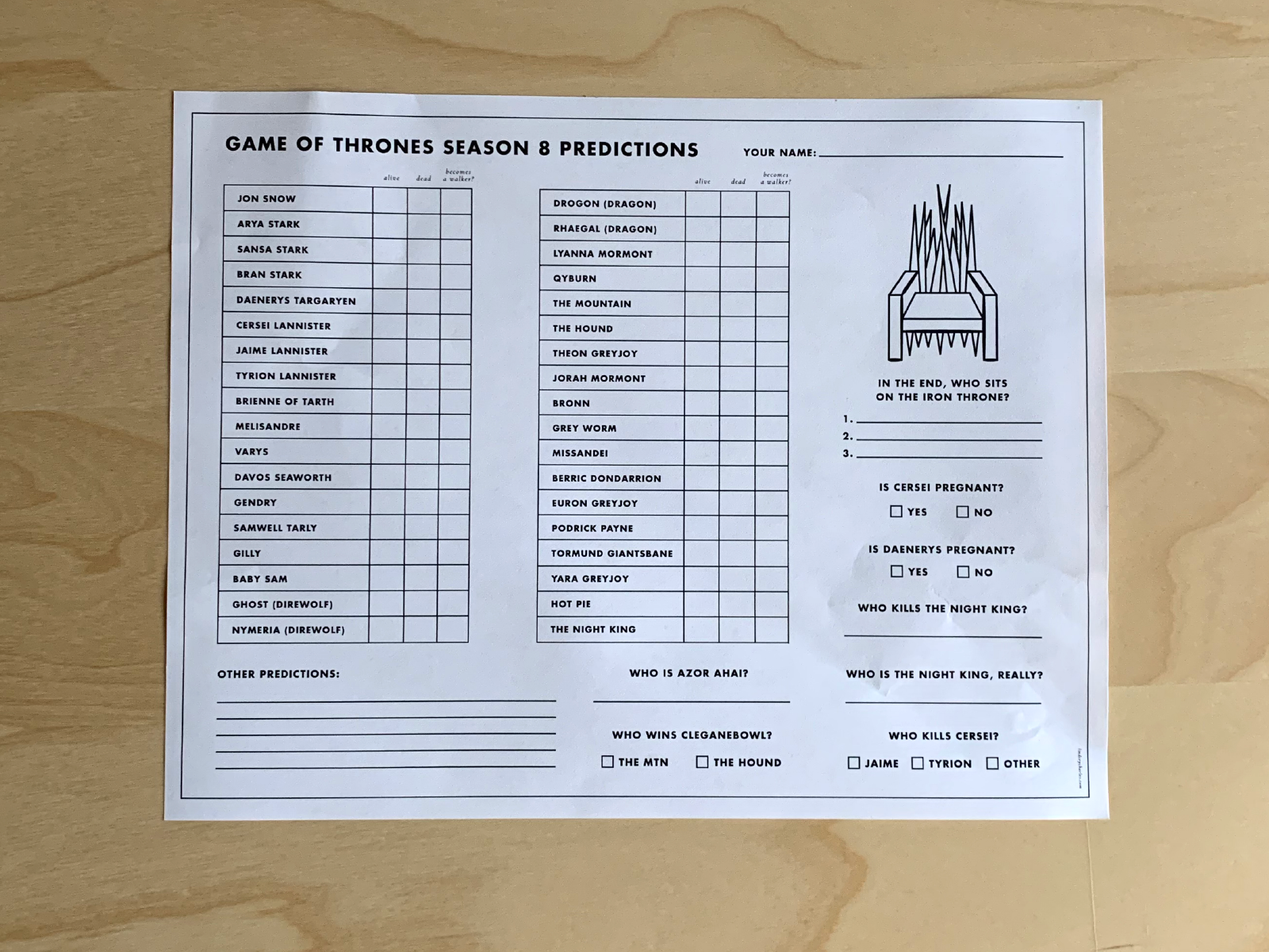 Game Of Thrones Season 8 Prediction Sheet By Lindsey Charles