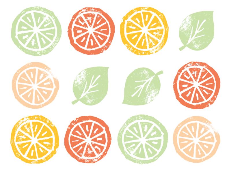 Linocut Summer Citrus pothos philodendron blood orange lime orange lemon print linoleum linocut printmaking citrus church summer