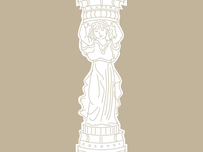 Caryatid woman architecture canephora antiquity illustration figure caryatid column column caryatid