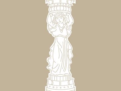 Canephora woman architecture canephora antiquity illustration figure caryatid column column caryatid