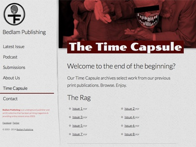 Time Capsule (archive page) website html css design