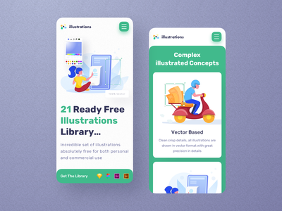 Free Illustration Library - Mobile Screens brand vector inspiration trendy design clean graphic mobile responsive mobile ui mobile app mobile branding app minimal interface landing illustration web ux ui design