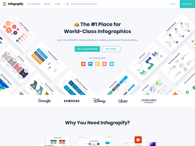Infograpify - Landing Page Design hero section landing page website 2021 trend inspiration trendy branding clean brand typography minimal interface illustration web ux ui design