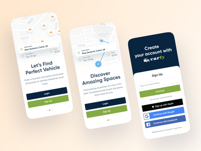 Carfy - Onboarding 2021 trend trendy minimalist clean car app parking app car android ios slide onboarding sign in signup app illustration interface minimal ux ui design