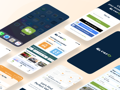 Carfy - App Screens interface design typography colors trendy 2021 trend android signup car app ios branding brand app interface minimal ux ui design