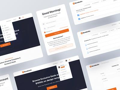 Bundelsgo - Components Exploration menu ui element brand typography component header dropdown sign in signup dashboard branding web design ux ui